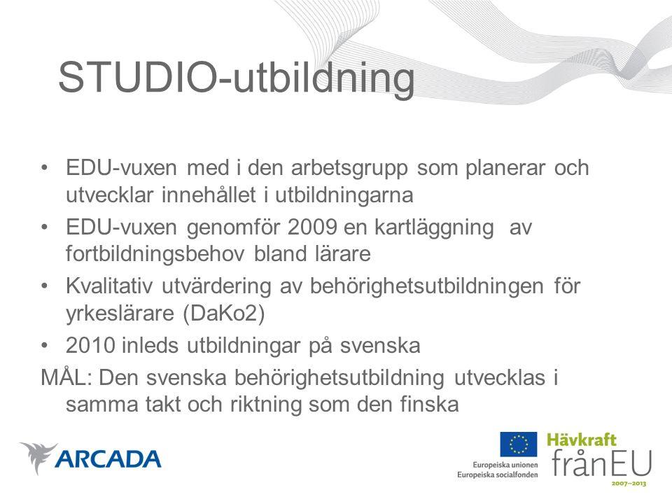STUDIO-utbildning EDU-vuxen med i den arbetsgrupp som planerar och utvecklar innehållet i utbildningarna EDU-vuxen genomför 2009 en kartläggning av fortbildningsbehov bland lärare Kvalitativ utvärdering av behörighetsutbildningen för yrkeslärare (DaKo2) 2010 inleds utbildningar på svenska MÅL: Den svenska behörighetsutbildning utvecklas i samma takt och riktning som den finska