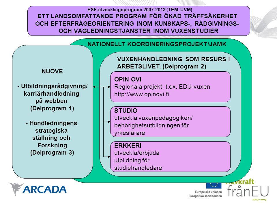 EDU-vuxens direkta målgrupper Personal i de svenskspråkiga vuxenutbildningsorganisationerna som har ansvar för planering av vuxenutbildning, handledning, rådgivning eller kontakter till arbetslivet som en del av sitt arbete.