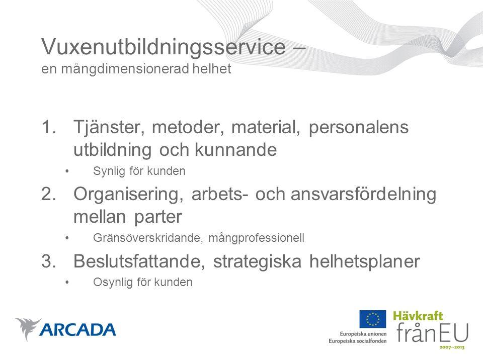 SYFTET med EDU-vuxen : att öka de svenska vuxenutbildningstjänsternas tillgänglighet, mångfald och kvalitet EDU- vuxen Vuxenutbildnings- service på svenska Vuxenutbildning Individ Arbetsliv KundorienteringTräffsäkerhet