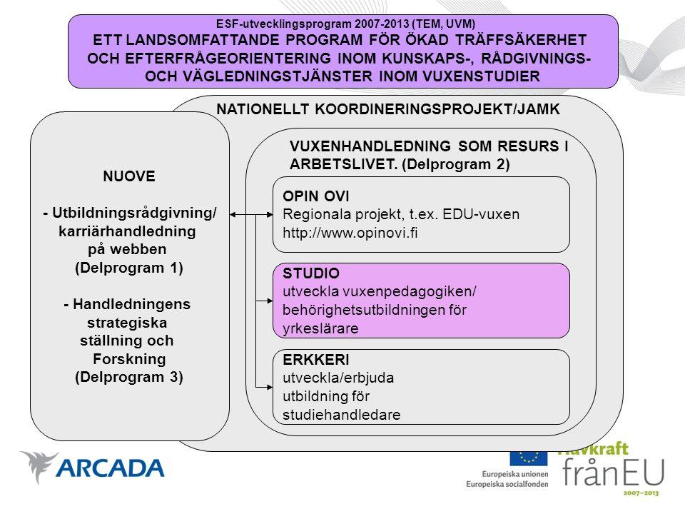 NATIONELLT KOORDINERINGSPROJEKT/JAMK ESF-utvecklingsprogram 2007-2013 (TEM, UVM) ETT LANDSOMFATTANDE PROGRAM FÖR ÖKAD TRÄFFSÄKERHET OCH EFTERFRÅGEORIENTERING INOM KUNSKAPS-, RÅDGIVNINGS- OCH VÄGLEDNINGSTJÄNSTER INOM VUXENSTUDIER NUOVE - Utbildningsrådgivning/ karriärhandledning på webben (Delprogram 1) - Handledningens strategiska ställning och Forskning (Delprogram 3) VUXENHANDLEDNING SOM RESURS I ARBETSLIVET.