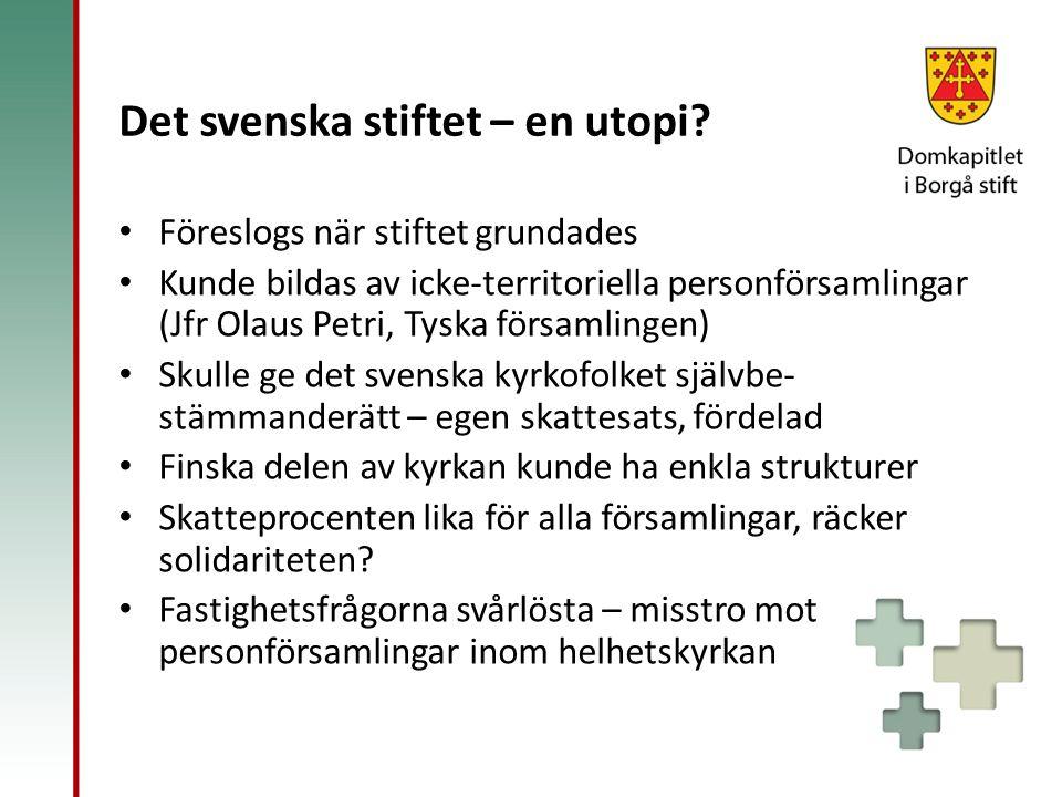 Det svenska stiftet – en utopi? Föreslogs när stiftet grundades Kunde bildas av icke-territoriella personförsamlingar (Jfr Olaus Petri, Tyska församli