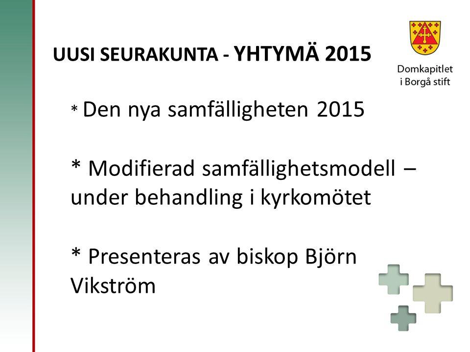 UUSI SEURAKUNTA - YHTYMÄ 2015 * Den nya samfälligheten 2015 * Modifierad samfällighetsmodell – under behandling i kyrkomötet * Presenteras av biskop Björn Vikström
