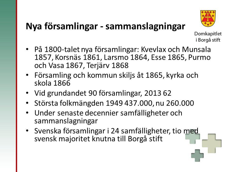 Nya församlingar - sammanslagningar På 1800-talet nya församlingar: Kvevlax och Munsala 1857, Korsnäs 1861, Larsmo 1864, Esse 1865, Purmo och Vasa 186