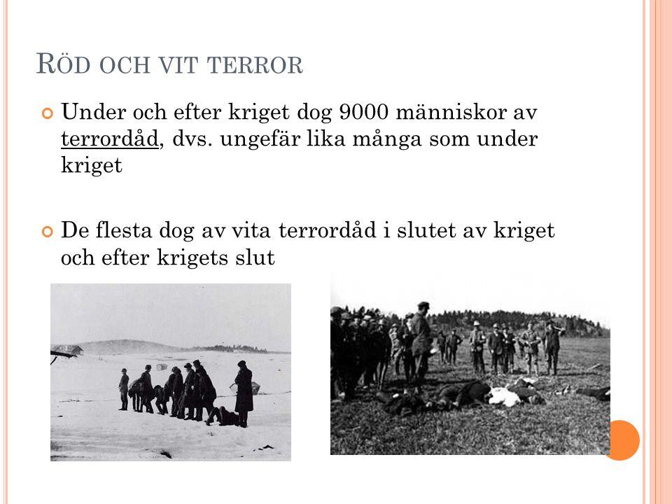 R ÖD OCH VIT TERROR Under och efter kriget dog 9000 människor av terrordåd, dvs. ungefär lika många som under kriget De flesta dog av vita terrordåd i