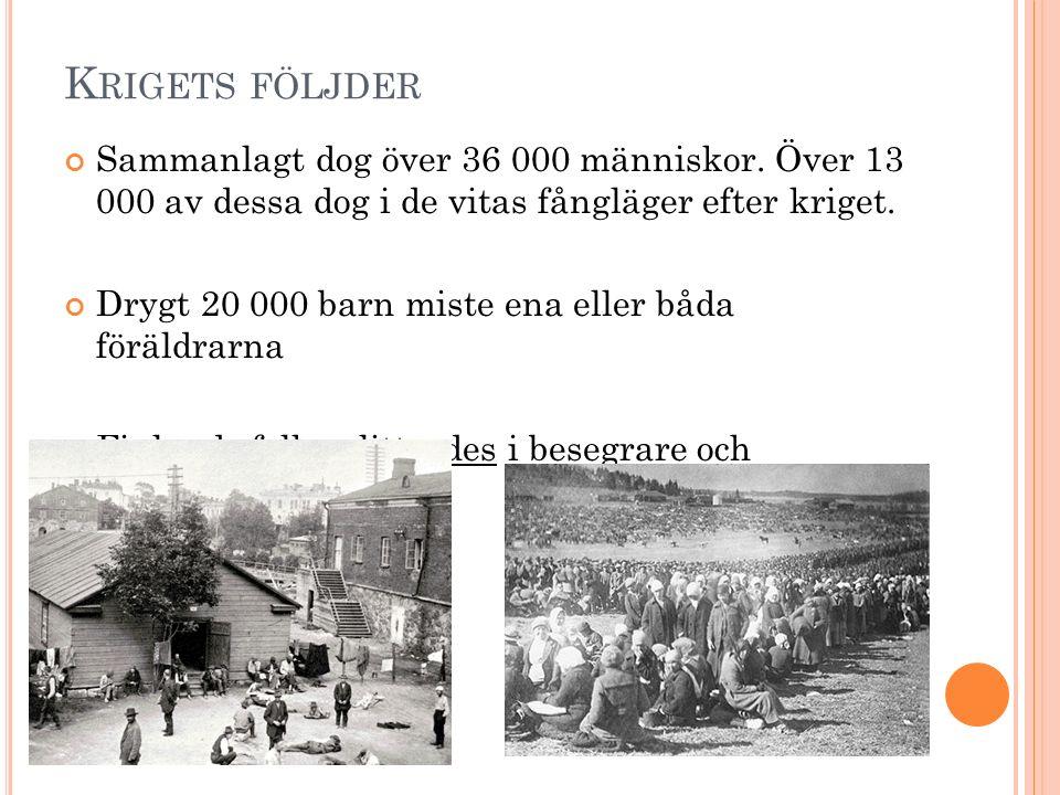K RIGETS FÖLJDER Sammanlagt dog över 36 000 människor. Över 13 000 av dessa dog i de vitas fångläger efter kriget. Drygt 20 000 barn miste ena eller b