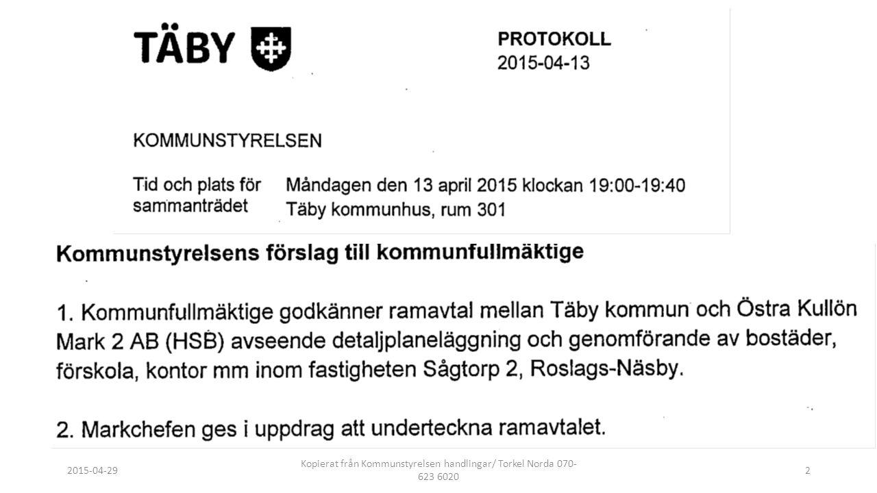 2015-04-29 Kopierat från Kommunstyrelsen handlingar/ Torkel Norda 070- 623 6020 2