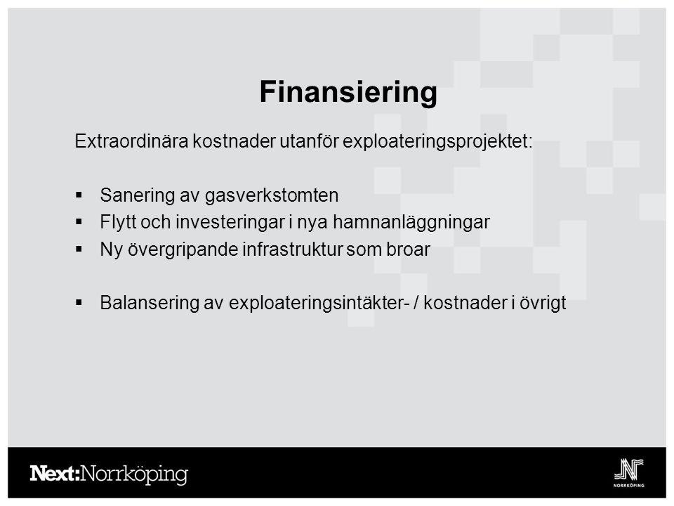 Finansiering Extraordinära kostnader utanför exploateringsprojektet:  Sanering av gasverkstomten  Flytt och investeringar i nya hamnanläggningar  Ny övergripande infrastruktur som broar  Balansering av exploateringsintäkter- / kostnader i övrigt