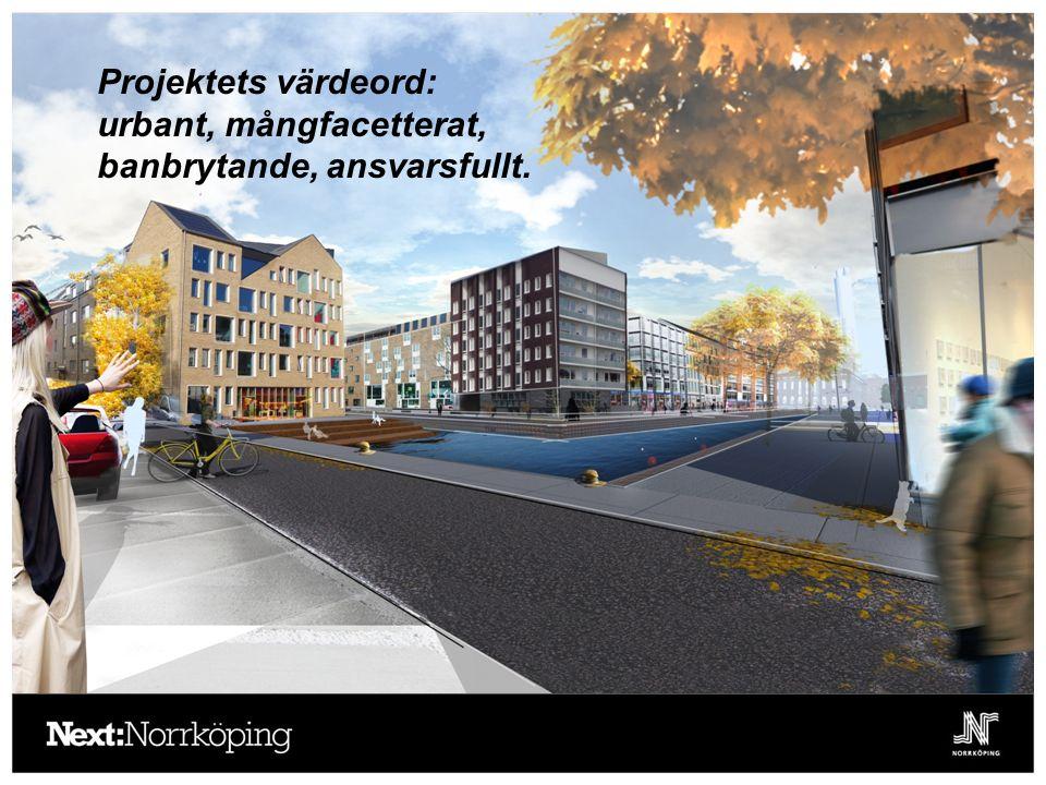 Projektets värdeord: urbant, mångfacetterat, banbrytande, ansvarsfullt.