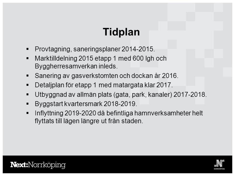 Tidplan  Provtagning, saneringsplaner 2014-2015.