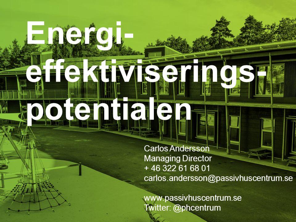 Energi- effektiviserings- potentialen Carlos Andersson Managing Director + 46 322 61 68 01 carlos.andersson@passivhuscentrum.se www.passivhuscentrum.s