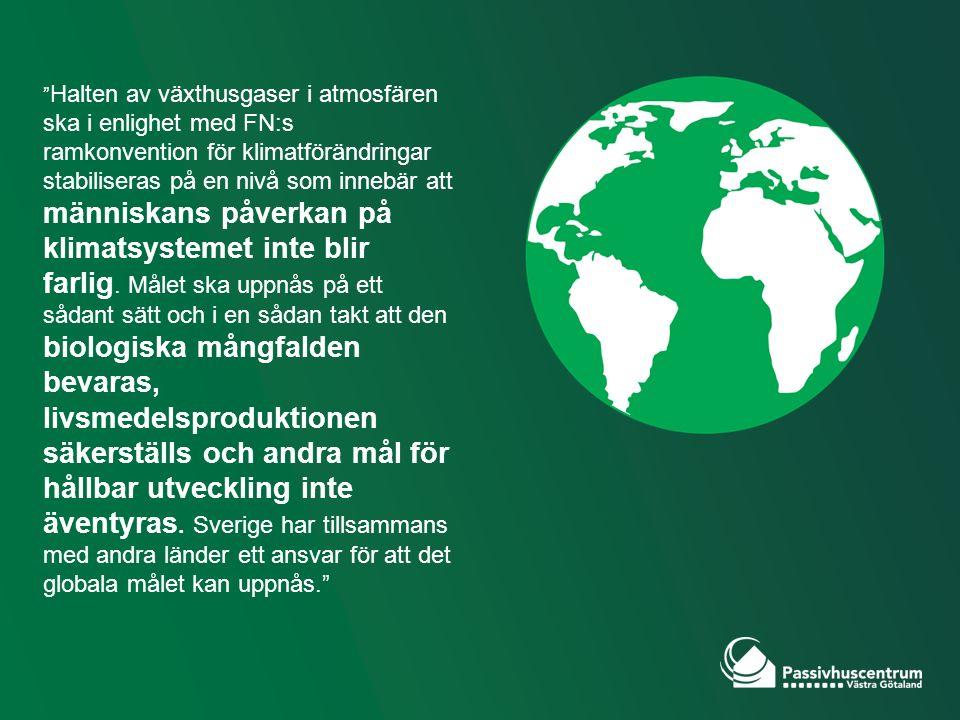 """"""" Halten av växthusgaser i atmosfären ska i enlighet med FN:s ramkonvention för klimatförändringar stabiliseras på en nivå som innebär att människans"""