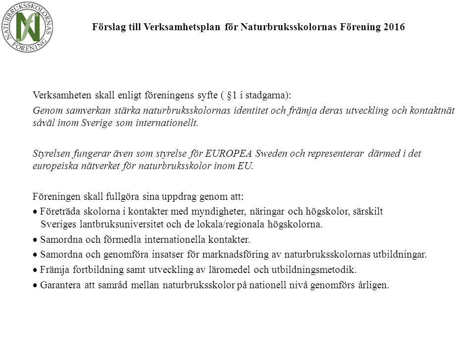 Förslag till Verksamhetsplan för Naturbruksskolornas Förening 2016 Verksamheten skall enligt föreningens syfte ( §1 i stadgarna): Genom samverkan stärka naturbruksskolornas identitet och främja deras utveckling och kontaktnät såväl inom Sverige som internationellt.
