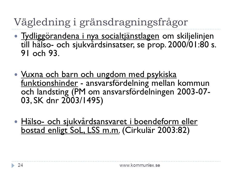 Vägledning i gränsdragningsfrågor www.kommunlex.se24 Tydliggörandena i nya socialtjänstlagen om skiljelinjen till hälso- och sjukvårdsinsatser, se prop.