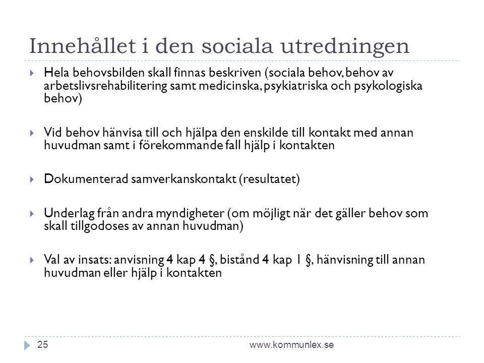 Innehållet i den sociala utredningen www.kommunlex.se25  Hela behovsbilden skall finnas beskriven (sociala behov, behov av arbetslivsrehabilitering s