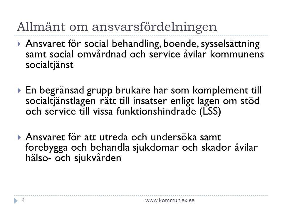 Allmänt om ansvarsfördelningen www.kommunlex.se4  Ansvaret för social behandling, boende, sysselsättning samt social omvårdnad och service åvilar kom
