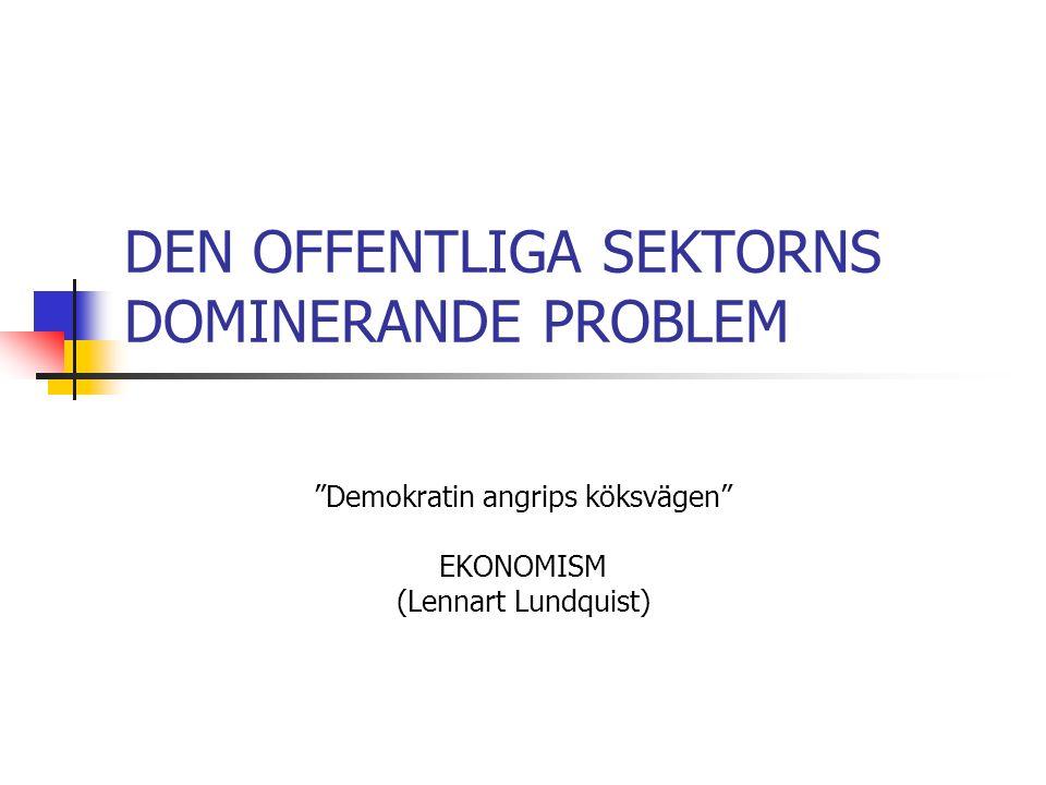 DEN OFFENTLIGA SEKTORNS DOMINERANDE PROBLEM Demokratin angrips köksvägen EKONOMISM (Lennart Lundquist)