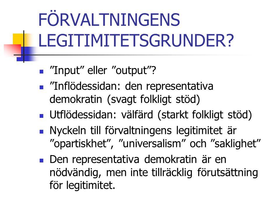 FÖRVALTNINGENS LEGITIMITETSGRUNDER. Input eller output .