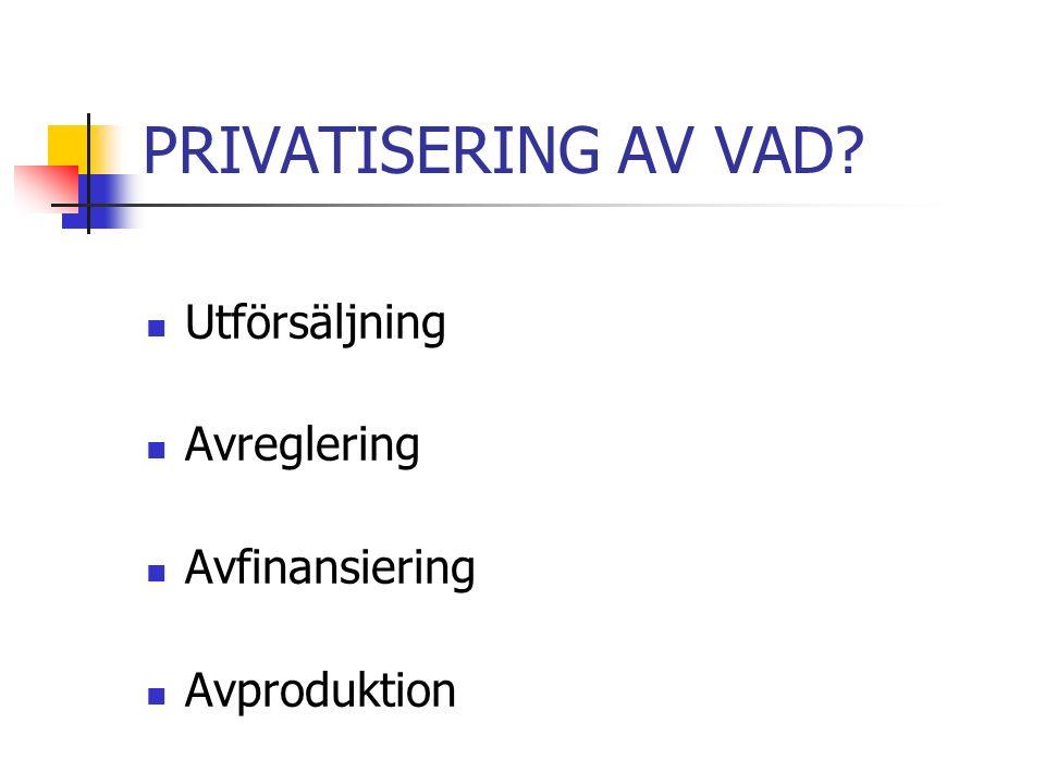 PRIVATISERING AV VAD Utförsäljning Avreglering Avfinansiering Avproduktion