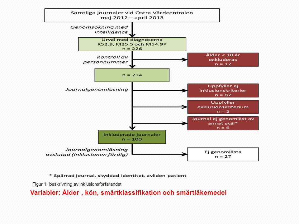 Variabler: Ålder, kön, smärtklassifikation och smärtläkemedel