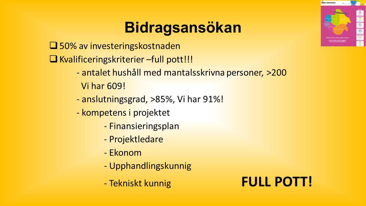 Bidragsansökan  50% av investeringskostnaden  Kvalificeringskriterier –full pott!!.