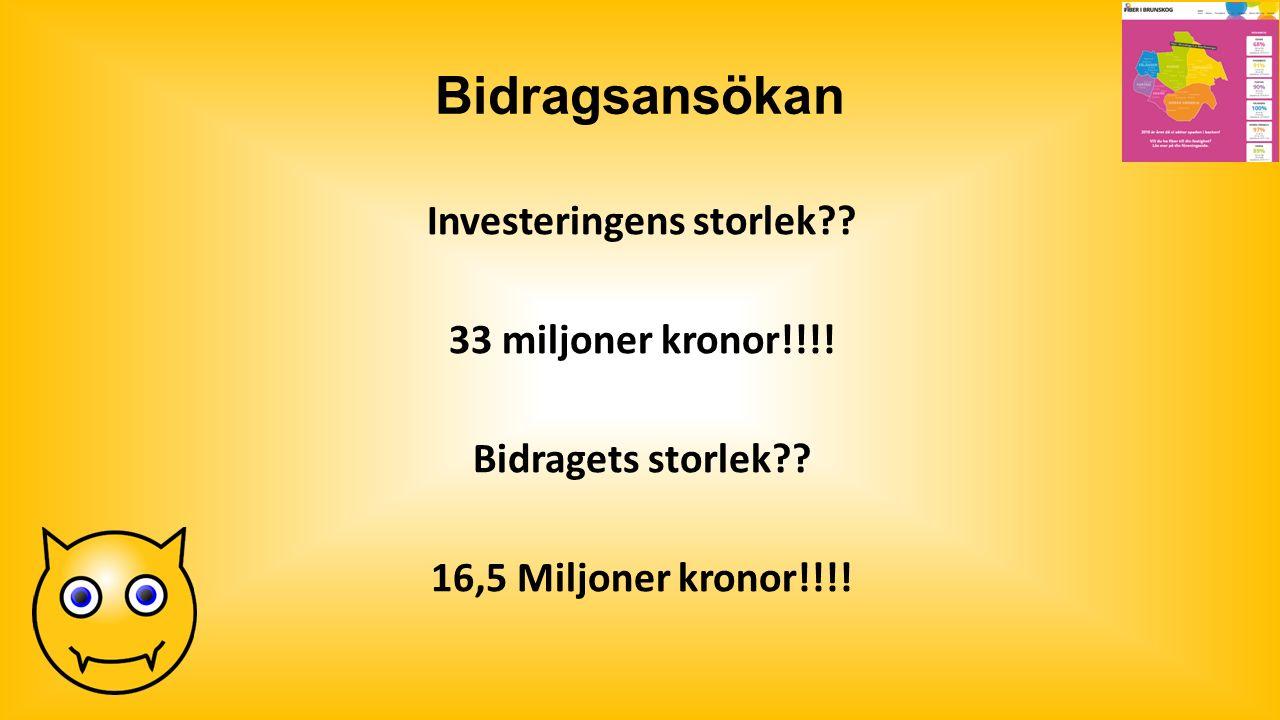 Bidragsansökan Investeringens storlek?. 33 miljoner kronor!!!.