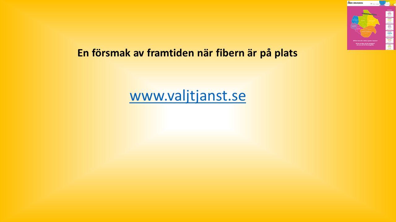 www.valjtjanst.se En försmak av framtiden när fibern är på plats