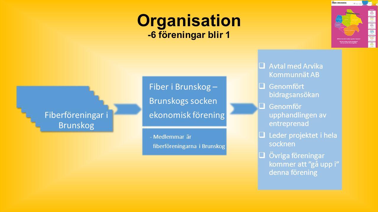 Organisation -6 föreningar blir 1 Fiberföreningar i Brunskog Fiber i Brunskog – Brunskogs socken ekonomisk förening - Medlemmar är fiberföreningarna i Brunskog  Avtal med Arvika Kommunnät AB  Genomfört bidragsansökan  Genomför upphandlingen av entreprenad  Leder projektet i hela socknen  Övriga föreningar kommer att gå upp i denna förening