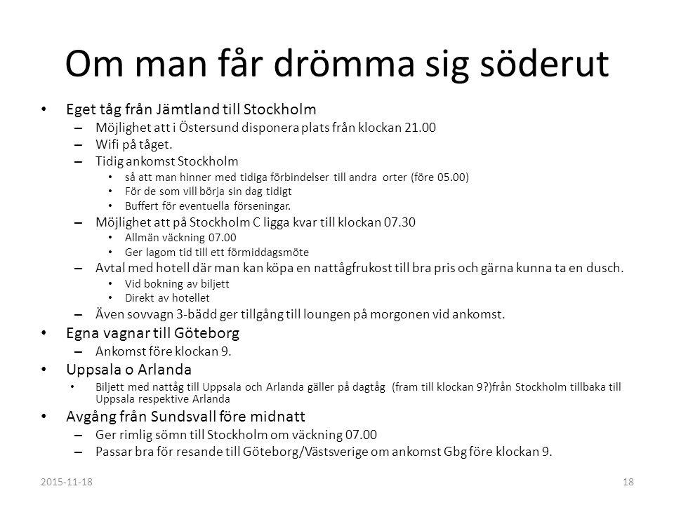 Om man får drömma sig söderut Eget tåg från Jämtland till Stockholm – Möjlighet att i Östersund disponera plats från klockan 21.00 – Wifi på tåget.