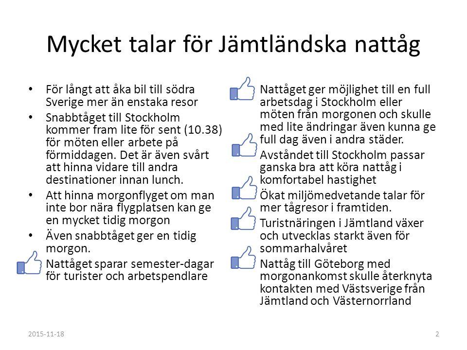 Mycket talar för Jämtländska nattåg För långt att åka bil till södra Sverige mer än enstaka resor Snabbtåget till Stockholm kommer fram lite för sent (10.38) för möten eller arbete på förmiddagen.