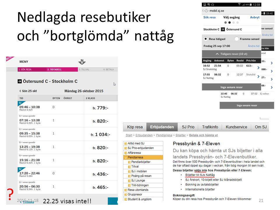 Nedlagda resebutiker och bortglömda nattåg ? 22.25 visas inte!! 2015-11-1821