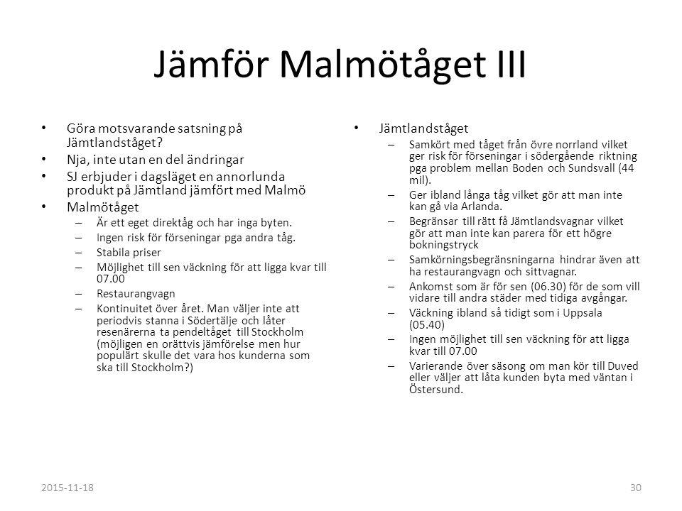 Jämför Malmötåget III Göra motsvarande satsning på Jämtlandståget.