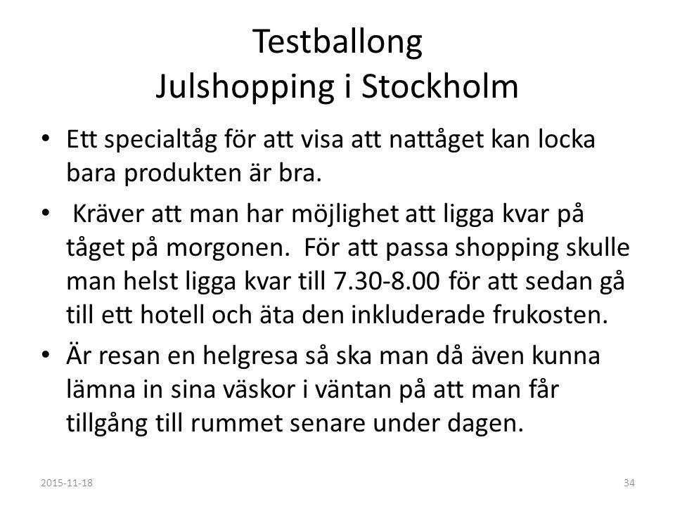 Testballong Julshopping i Stockholm Ett specialtåg för att visa att nattåget kan locka bara produkten är bra.