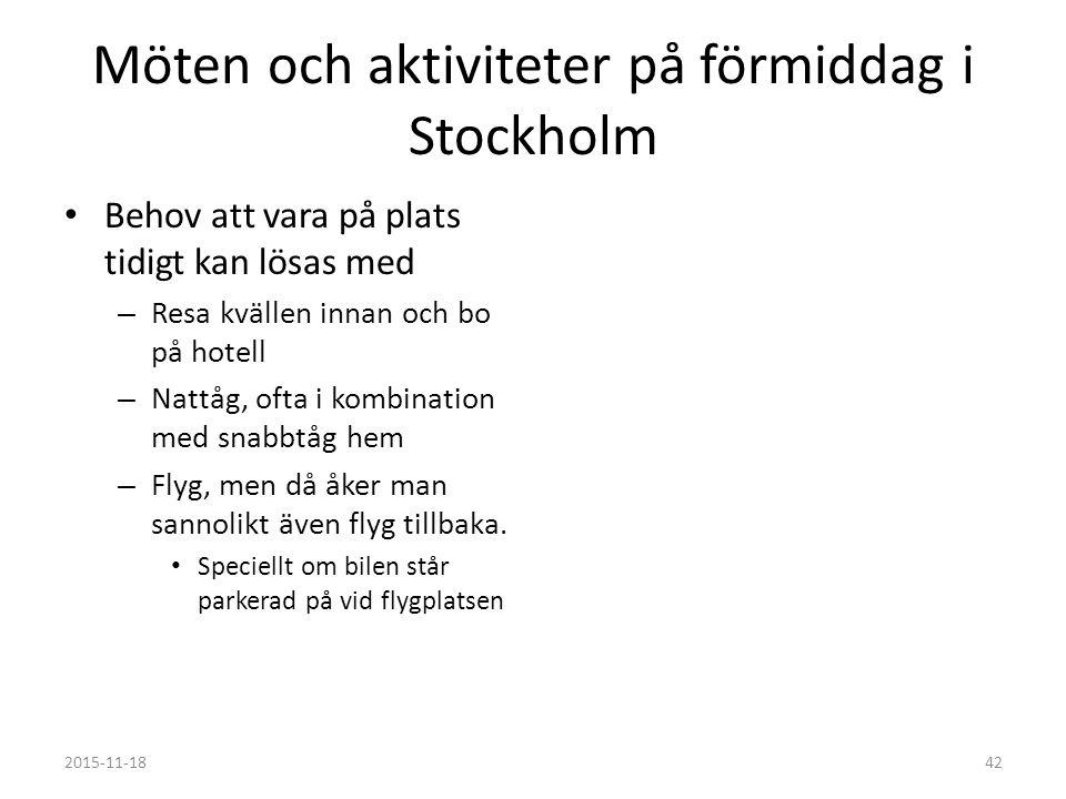 Möten och aktiviteter på förmiddag i Stockholm Behov att vara på plats tidigt kan lösas med – Resa kvällen innan och bo på hotell – Nattåg, ofta i kombination med snabbtåg hem – Flyg, men då åker man sannolikt även flyg tillbaka.