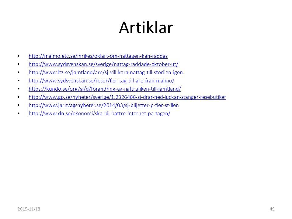 Artiklar http://malmo.etc.se/inrikes/oklart-om-nattagen-kan-raddas http://www.sydsvenskan.se/sverige/nattag-raddade-oktober-ut/ http://www.ltz.se/jamtland/are/sj-vill-kora-nattag-till-storlien-igen http://www.sydsvenskan.se/resor/fler-tag-till-are-fran-malmo/ https://kundo.se/org/sj/d/forandring-av-nattrafiken-till-jamtland/ http://www.gp.se/nyheter/sverige/1.2326466-sj-drar-ned-luckan-stanger-resebutiker http://www.jarnvagsnyheter.se/2014/03/sj-biljetter-p-fler-st-llen http://www.dn.se/ekonomi/ska-bli-battre-internet-pa-tagen/ 2015-11-1849
