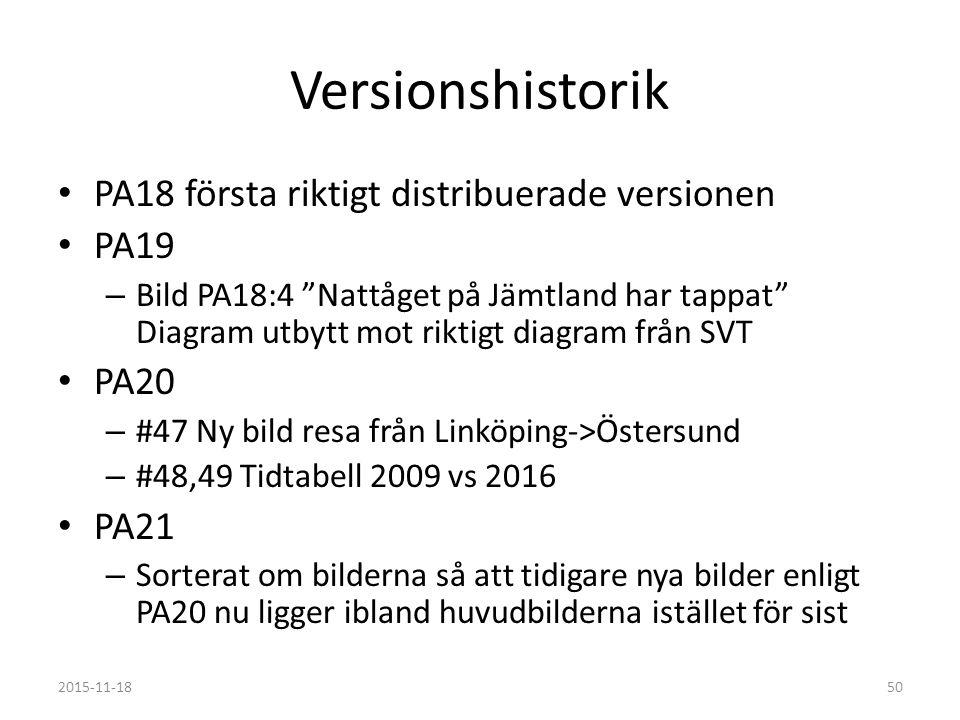 Versionshistorik PA18 första riktigt distribuerade versionen PA19 – Bild PA18:4 Nattåget på Jämtland har tappat Diagram utbytt mot riktigt diagram från SVT PA20 – #47 Ny bild resa från Linköping->Östersund – #48,49 Tidtabell 2009 vs 2016 PA21 – Sorterat om bilderna så att tidigare nya bilder enligt PA20 nu ligger ibland huvudbilderna istället för sist 2015-11-1850