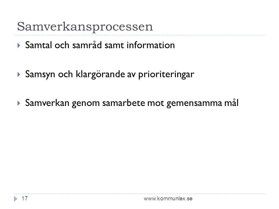 Samverkansprocessen www.kommunlex.se17  Samtal och samråd samt information  Samsyn och klargörande av prioriteringar  Samverkan genom samarbete mot gemensamma mål