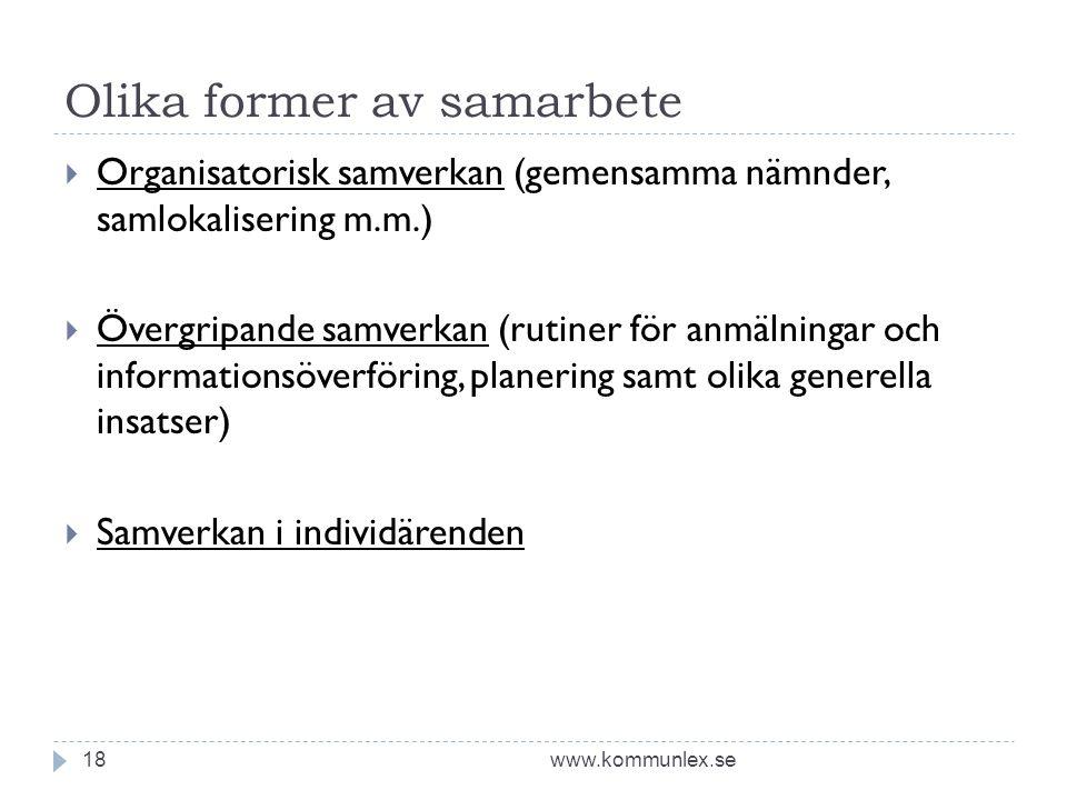 Olika former av samarbete www.kommunlex.se18  Organisatorisk samverkan (gemensamma nämnder, samlokalisering m.m.)  Övergripande samverkan (rutiner för anmälningar och informationsöverföring, planering samt olika generella insatser)  Samverkan i individärenden