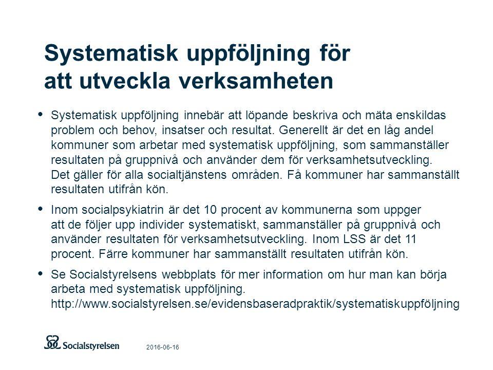 Systematisk uppföljning för att utveckla verksamheten 2016-06-16 Systematisk uppföljning innebär att löpande beskriva och mäta enskildas problem och b