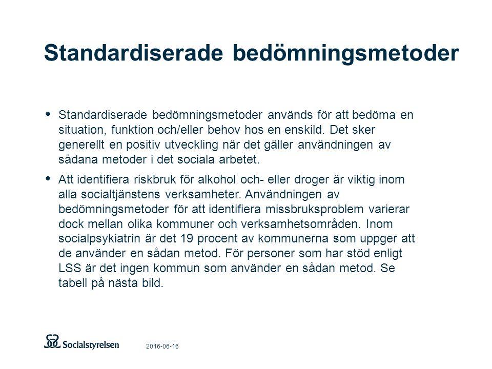 Standardiserade bedömningsmetoder 2016-06-16 Standardiserade bedömningsmetoder används för att bedöma en situation, funktion och/eller behov hos en en