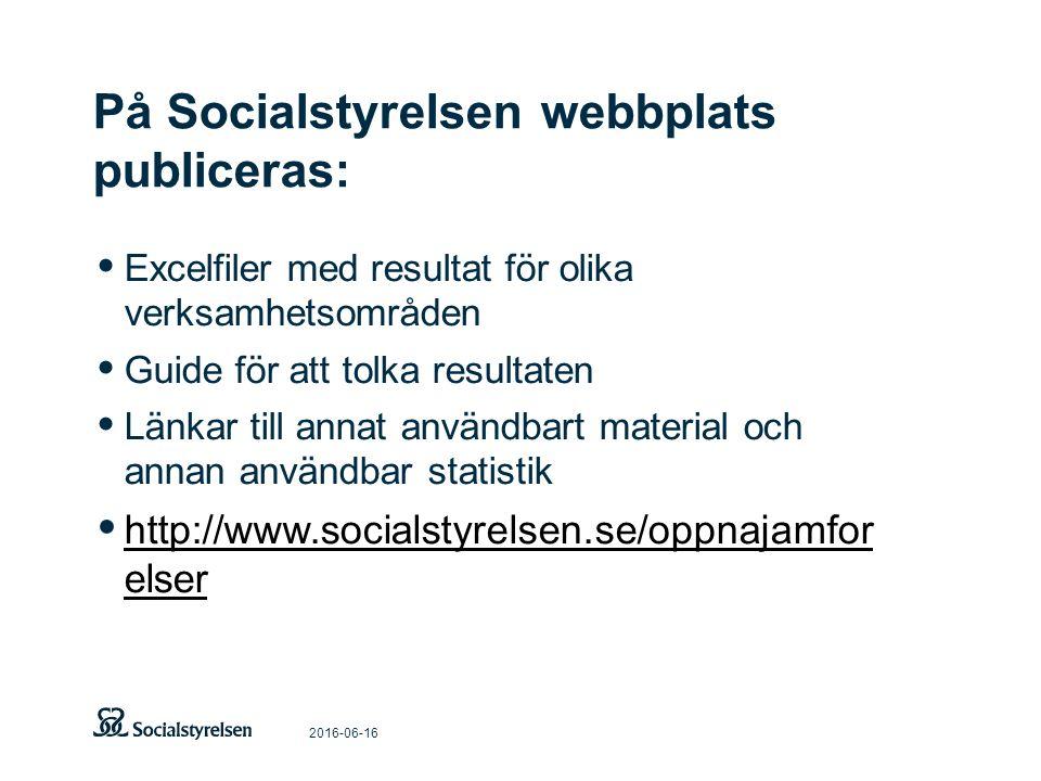 På Socialstyrelsen webbplats publiceras: 2016-06-16 Excelfiler med resultat för olika verksamhetsområden Guide för att tolka resultaten Länkar till an