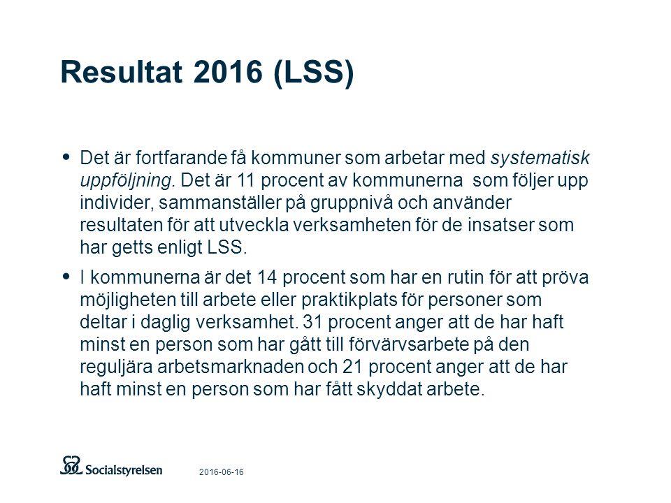 Resultat 2016 (LSS) 2016-06-16 Det är fortfarande få kommuner som arbetar med systematisk uppföljning. Det är 11 procent av kommunerna som följer upp