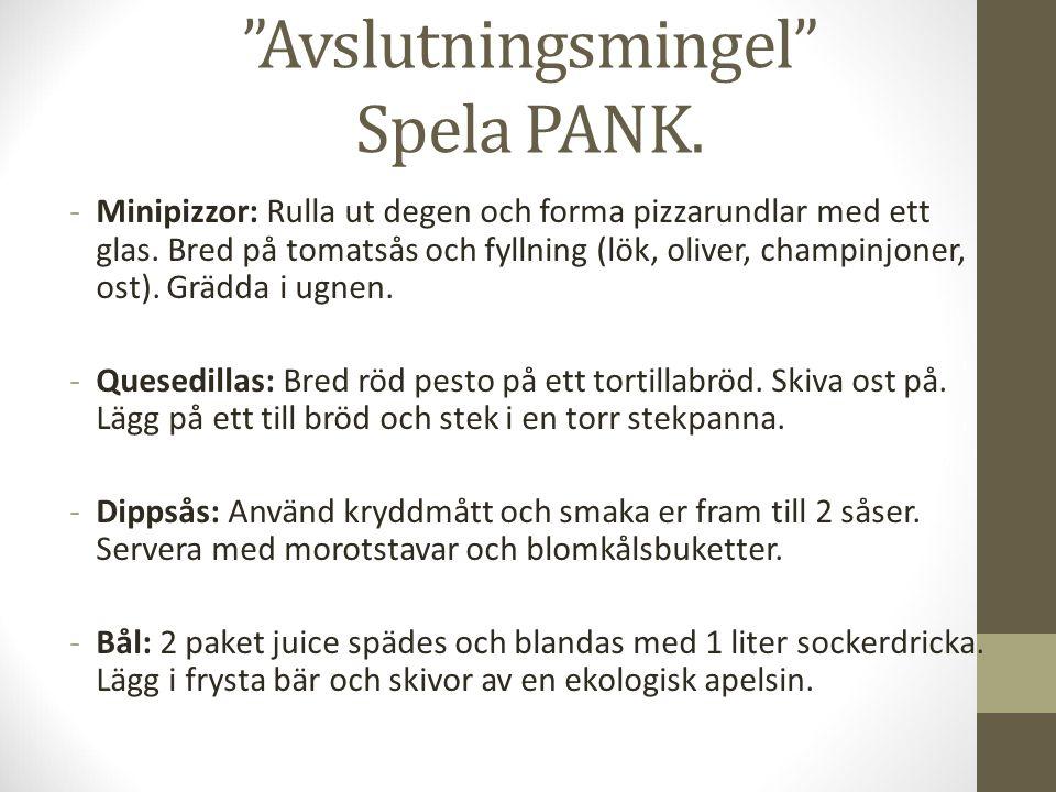 Avslutningsmingel Spela PANK. -Minipizzor: Rulla ut degen och forma pizzarundlar med ett glas.