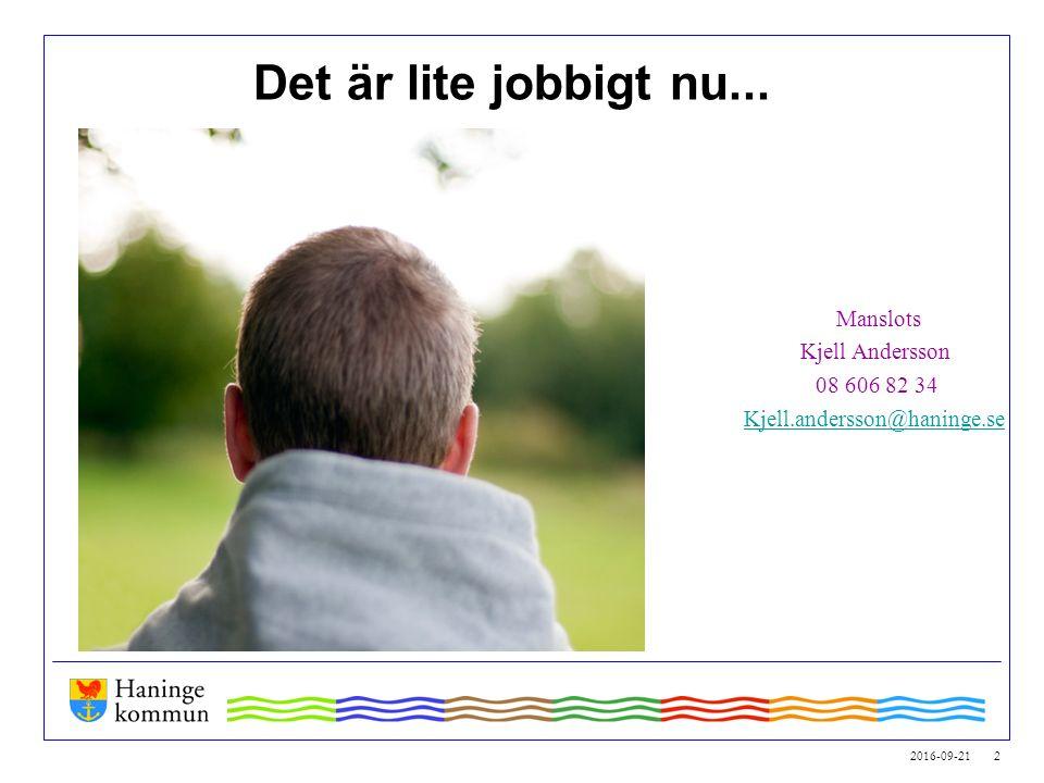 2016-09-21 2 Det är lite jobbigt nu... Manslots Kjell Andersson 08 606 82 34 Kjell.andersson@haninge.se