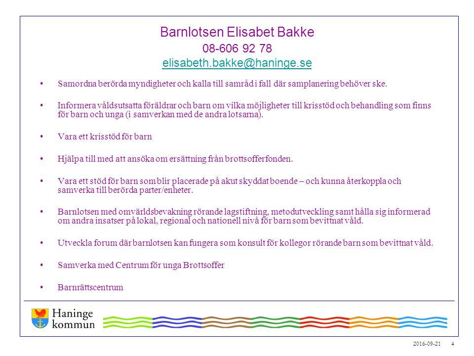 2016-09-21 4 Barnlotsen Elisabet Bakke 08-606 92 78 elisabeth.bakke@haninge.se elisabeth.bakke@haninge.se Samordna berörda myndigheter och kalla till