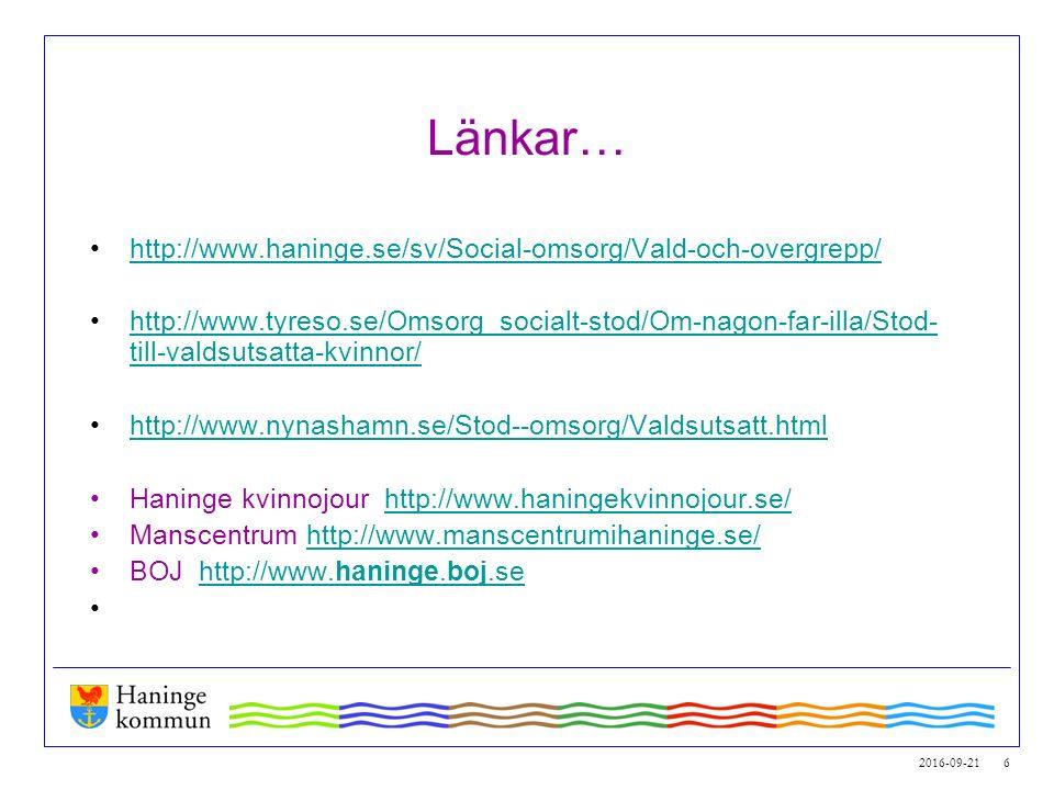 2016-09-21 6 Länkar… http://www.haninge.se/sv/Social-omsorg/Vald-och-overgrepp/ http://www.tyreso.se/Omsorg_socialt-stod/Om-nagon-far-illa/Stod- till-valdsutsatta-kvinnor/http://www.tyreso.se/Omsorg_socialt-stod/Om-nagon-far-illa/Stod- till-valdsutsatta-kvinnor/ http://www.nynashamn.se/Stod--omsorg/Valdsutsatt.html Haninge kvinnojour http://www.haningekvinnojour.se/http://www.haningekvinnojour.se/ Manscentrum http://www.manscentrumihaninge.se/http://www.manscentrumihaninge.se/ BOJ http://www.haninge.boj.sehttp://www.haninge.boj.se