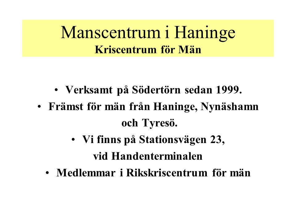 Manscentrum i Haninge Kriscentrum för Män Verksamt på Södertörn sedan 1999.