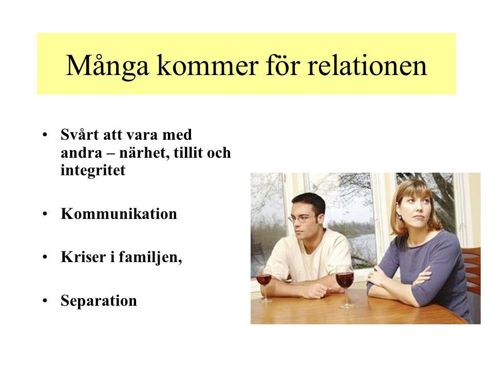 Många kommer för relationen Svårt att vara med andra – närhet, tillit och integritet Kommunikation Kriser i familjen, Separation