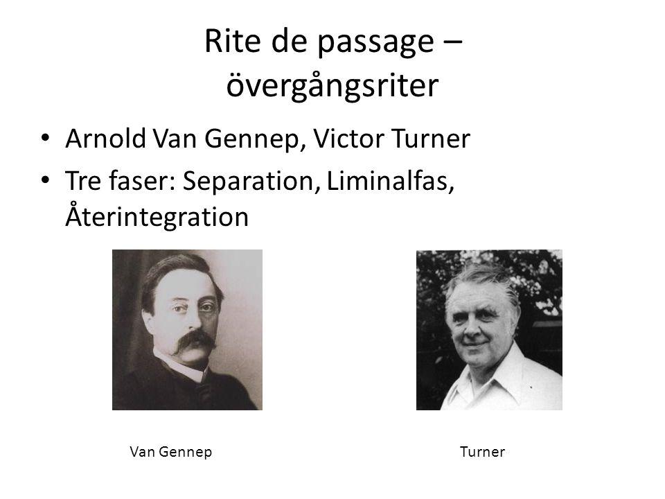 Rite de passage – övergångsriter Arnold Van Gennep, Victor Turner Tre faser: Separation, Liminalfas, Återintegration Van GennepTurner
