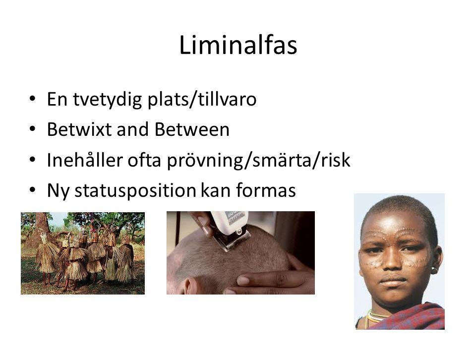 Liminalfas En tvetydig plats/tillvaro Betwixt and Between Inehåller ofta prövning/smärta/risk Ny statusposition kan formas