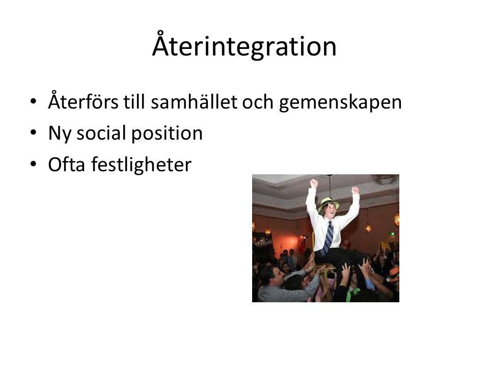 Återintegration Återförs till samhället och gemenskapen Ny social position Ofta festligheter